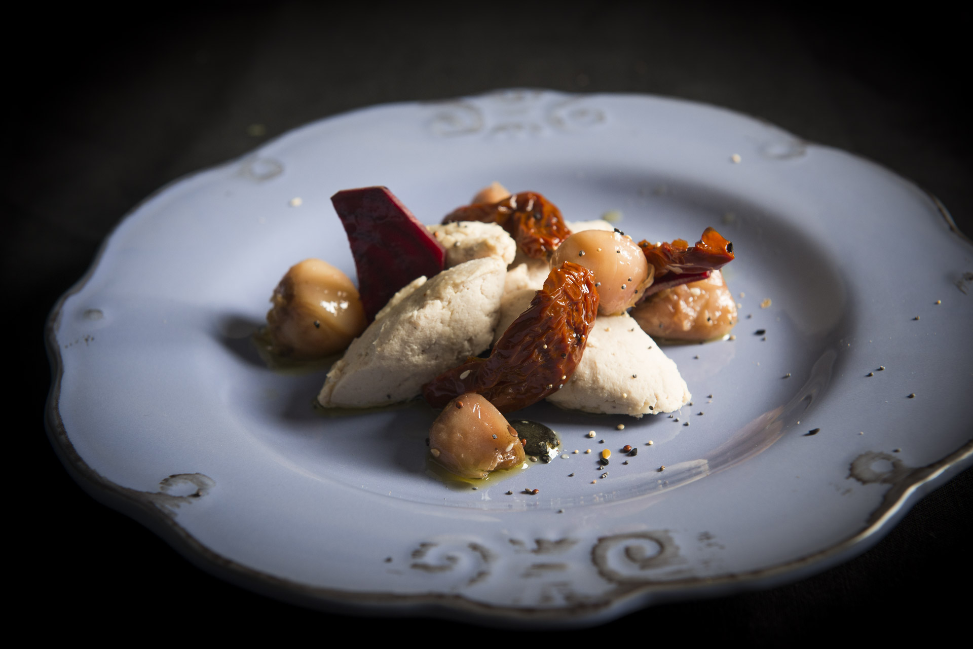 Mousse di pollo con pomodori secchi e lampascioni